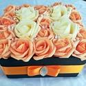 Elegáns rózsadoboz (23 szál), Dekoráció, Otthon, lakberendezés, Asztaldísz, Dísz, Virágkötés, Kedveskedj szeretteidnek habrózsadobozzal! Örök emlék, lakás elegáns dísze lehet. Élethű habrózsák ..., Meska