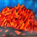 Krétai szikla, Képzőművészet, Napi festmény, kép, 78X57 cm,  síküvegre üvegfestés technikával készült üvegfestmény, Meska