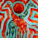 Afrika, Képzőművészet, Festmény, 50X50 cm,  síküvegre üvegfestés technikával készült üvegfestmény, Meska