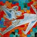 Bátortalan egér, Képzőművészet, Napi festmény, kép, 30X20 cm, síküvegre üvegfestés technikával készült üvegfestmény , Meska