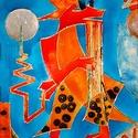 Ferke, a kecskefiú, Képzőművészet, Napi festmény, kép, 40X60 cm, síküvegre üvegfestés technikával készült üvegfestmény , Meska