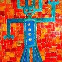 Játéknyúl, Képzőművészet, Napi festmény, kép, 25X35 cm, síküvegre üvegfestés technikával készült üvegfestmény , Meska