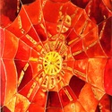 Az aranypók hálójában, Képzőművészet, Napi festmény, kép, Festészet, 50X65 cm, síküvegre üvegfestés technikával készült üvegfestmény , Meska