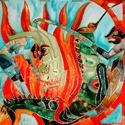 Pokolkép sárkánnyal és ördöggel, Képzőművészet, Napi festmény, kép, Festészet, 50X50 cm, síküvegre üvegfestés technikával készült üvegfestmény , Meska