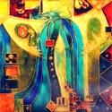 Vízitündér, Képzőművészet, Otthon, lakberendezés, Festmény, Falikép, 50x50 cm, síküvegre üvegfestés technikával készült üvegfestmény, Meska