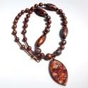 Mokume gane... Nyaklánc süthető gyurmából, Bronz, ezüst és réz színű Sculpey gyurmából...