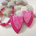 Pink Cranberry  -  fülbevaó és karkötő, Ékszer, Fülbevaló, Karkötő, Ékszerszett, A nagyméretű fülbevalót fukszia, rózsaszín és fehér színű ékszergyurmából egy kis ezüst színű füstfó..., Meska