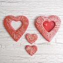 Szív alakú dísz, ajándékkísérő,dekoráció  -  4 db/csomag, Dekoráció, Szerelmeseknek, Otthon, lakberendezés, Dísz, Szívből sosem elég  - számtalan felhasználási lehetőség: díszcsomagoláshoz, lakás dekorálásához; szü..., Meska