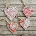 Szív alakú dísz, ajándékkísérő, dekoráció, 4 db/csomag, Dekoráció, Szerelmeseknek, Esküvő, Dísz, Díszcsomagoláshoz; ajándékkísérőként; lakás dekorálásához; esküvői, születésnapi, anyák napi, ünnepi..., Meska