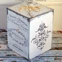 Vintage hangulatú tároló doboz, A doboz mérete 13x13x21 cm, rétegelt lemezből k...