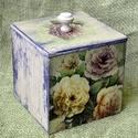 Virágos tároló doboz, Dekoráció, Otthon, lakberendezés, Tárolóeszköz, Doboz, 13x13 cm méretű fa tároló doboz, mindenféle apróság tárolására, akár konyhába, fürdőszobába vagy elő..., Meska