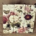Irattartó papucsok, Fából készült irattartó papucsok rózsás min...