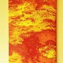 Lávafolyam - feszített vászonra készült akril kép, Dekoráció, Képzőművészet, Kép, Festmény, A képet a sárga és a piros különböző árnyalatai uralják, a hatás engem a vulkánok kitörésekor aláöml..., Meska