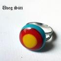 Tricolor gyűrű  piros sárga, kék nyári üvegékszer, Ékszer, óra, Ruha, divat, cipő, Medál, Gyűrű, Üvegművészet, Ékszerkészítés, Piros sárga,világoskék  csillogó üveg felhasználásával készült a gyűrű olvasztásos technikával. A g..., Meska