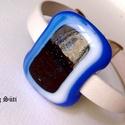 Hófödte hegyek  kék, fehér karkötő üvegékszer , Ékszer, Karkötő, Ékszerszett, Üvegművészet, Ékszerkészítés, Mintás kék, kék  és kék aventurin csillogó üveg felhasználásával készült a karkötő olvasztásos tech..., Meska