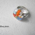 Ezer virág gyűrű, Ékszer, Ruha, divat, cipő, Karácsonyi, adventi apróságok, Gyűrű, Üvegművészet, Ékszerkészítés, Áttetsző csillogó üveg és millefiori virágok felhasználásával készült a gyűrű  olvasztásos techniká..., Meska