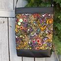 Buborékos válltáska, oldaltáska, Táska, Válltáska, oldaltáska, Laptoptáska, Tarisznya, Varrás, Retro kedvelők figyelem!!!  Az egyik kedvenc amerikai patchwork vásznamból és fekete textilbőrből k..., Meska