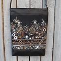 Barna-szürke buborékos válltáska, oldaltáska, Táska, Válltáska, oldaltáska, Laptoptáska, Tarisznya, Varrás,   Az egyik kedvenc amerikai patchwork vásznamból és fekete textilbőrből készítettem ezt a táskát. A..., Meska