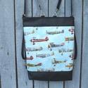 3in1 Repülős hátizsák, válltáska, oldaltáska, Táska, Válltáska, oldaltáska, Laptoptáska, Tarisznya, Varrás, Amerikai patchwork vászonból és fekete textilbőrből készítettem ezt a táskát. A táska hátulja feket..., Meska