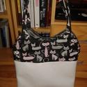 Cica cicás macska macskás pamutvászon műbőr táska, Táska, Válltáska, oldaltáska, Műbőr és pamutvászon kombinációval készítettem ezt a táskát. Belsejében cipzárral záró..., Meska