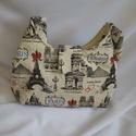 Párizs pamutvászon táska, Táska, Válltáska, oldaltáska, Varrás, Párizs táskát készítettem. Belsejében cipzárral záródik.  Méretei 35x24, pánt 68 cm., Meska