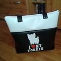 Kutya yorkie műbőr táska, Táska, Válltáska, oldaltáska, Varrás, Yorki gazdiknak készítettem táskát. A  táska méretei: 35x32x6, pántja 68 cm hosszú. Belül 2 db zseb..., Meska
