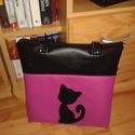 Cica macska műbőr táska, Táska, Válltáska, oldaltáska, Varrás,  A  táska méretei: 35x32x6, pántja 68 cm hosszú. Belül 2 db zsebbel., Meska