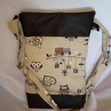 Textilbőr pamutvászon bagoly táska, Táska, Válltáska, oldaltáska, Tarisznya, Baglyos táskát készítettem, műbőr-pamutvászon kombinációban. Méret 25x37x6 cm, pánt 112 c..., Meska
