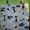 Cica macska pamutvászon szatyor bevásárlótáska, Táska, Szatyor, Pamutvászon szatyor, 38x38 cm, pántja szintén 38 cm hosszú. Bézs béléssel készítettem., Meska