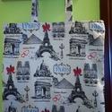 Párizs pamutvászon szatyor bevásárlótáska, Táska, Szatyor, Pamutvászon szatyor, 38x38 cm, pántja szintén 38 cm hosszú. Cipzárral záródik. Bézs béléss..., Meska