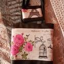 Rózsás Párizs táska neszesszerrel, Táska, Válltáska, oldaltáska, Varrás, Műbőr alapra pamutvásznat varrtam. Belsejében fehér béléssel, kettő darab kettéosztott zsebbel kész..., Meska