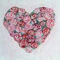 szív rózsákból - akril festmény, Dekoráció, Képzőművészet, Otthon, lakberendezés, Szerelmeseknek, Anyák napja, Festészet, Rétegelt lemezre festett akril festmény. színes rózsákból formázott szív Szélesség: 34,5 cm, magass..., Meska