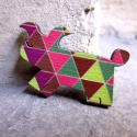 Geometrikus Kutya - kitűző - Woody kollekció, A kitűző a következő anyagokból készült:   ...