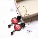 Piros és fekete - lógós üveges fülbevaló , A fülbevaló a következő anyagokból készült:...
