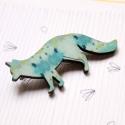 Kék mintás róka- kitűző - Woody kollekció, A kitűző a következő anyagokból készült:   ...