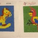 Hintalo és papagáj, Dekoráció, Gobelin, Gobelin mérete: 10x10 cm MIndkét gobelin ki van varrva. A képek külön külön is megvásárolhatok. ..., Meska