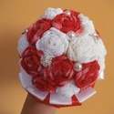 Piros-fehér örökcsokor, Dekoráció, Esküvő, Csokor, Esküvői csokor, Horgolás, Eladó kézműves,új, horgolt virágokból készült örökcsokor. A virágok piros színátmenetes és fehér An..., Meska