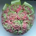 Tutti-frutti örökcsokor, Dekoráció, Esküvő, Esküvői csokor, Csokor, Horgolás, Virágkötés, Tutti-frutti ihletésű zöld-rózsaszín kombinációjú ombre horgolócérnából készült  virágokból álló ör..., Meska