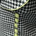 Tavaszi tyúklábmintás blézer, Ruha, divat, cipő, Női ruha, Kosztüm, Kabát, Varrás, Fekete-fehér tyúklábmintás blézert készítettem, neon zöld anyaggal díszítve.38-as méretű. Hossza: 6..., Meska