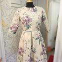 Liliom mintás női ruha, Képzőművészet, Ruha, divat, cipő, Női ruha, Ruha, Eladó egy egyedileg készített len alapú virágmintás ruha.Kizárólag 1 db készült belőle.  36-os méret..., Meska