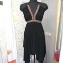 Kis fekete ruha, Ruha, divat, cipő, Női ruha, Ruha, Estélyi ruha, Eladó egy dzsörzéből készített fekete, asszimetrikus ruha. Csillogós bronz szalag díszitéss..., Meska