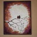 Madaras festmény, Képzőművészet, Dekoráció, Festmény, Akril, Eladó egy madarakat ábrázoló festmény, a holdfény árnyékában ülnek, a faágon.  Magasság 60cm Széless..., Meska