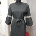 Csipkés ünnepi ruha, Esküvő, Ruha, divat, cipő, Készítettem szürke szövetből egy viszonylag egyszerű vonalú ruhát. Derekán övvel.  A díszítését a ka..., Meska
