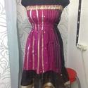 Alkalmi ruha száriból , Esküvő, Ruha, divat, cipő, Női ruha, Ruha, Indiai anyagból készült pánt nélküli, színátmenetes alkalmi ruha. Pink és arany bordűrös.  Nagyon sz..., Meska