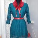 Csipke ruha műszörme gallérral, Ruha, divat, cipő, Női ruha, Ruha, Estélyi ruha, Készítettem egy smaragd zöld ruhát. Piros szalaggal van megkötve a dereka.  Minden levehető róla még..., Meska