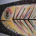 Tonhal a sötét tengerben festmény AKCIÓ, Képzőművészet, Festmény, Akril, Három vászonra készített, tonhalat ábrázoló, akrillal festett festmény. Teljes szélessége 1,30 m..., Meska
