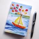 Lufis vitorlás füzet, Naptár, képeslap, album, Jegyzetfüzet, napló, A füzet borítója egy festményem másolata. Az eredeti akvarellfestmény saját szellemi termékem. A füz..., Meska