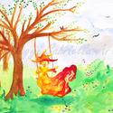 Tavaszi réten hintázó erdőjáró művészi nyomat, Dekoráció, Otthon, lakberendezés, Kép, Falikép, A tavaszi hangulatú festményre egy saját magam által alkotott figurát festettem, akit Erdőjárónak ne..., Meska