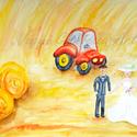 Ifjú pár a búzamezőn művészi nyomat - kép, Dekoráció, Esküvő, Képzőművészet, Kép, A képre egy fiatal párt festettem, amint egy búzamezőn sétálnak kéz a kézben, akár egy esküvői fotóz..., Meska