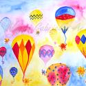 Hőlégballonozó limimik művészi nyomat - falikép, Otthon, lakberendezés, Baba-mama-gyerek, Gyerekszoba, Falikép, Ezen a kedves képen kis manószerű lényeimet, a limimiket ábrázoltam, amint hőlégballonoznak. A színe..., Meska